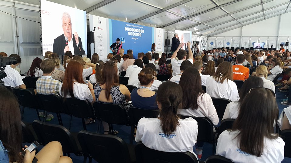 First Deputy CEO of ITAR-TASS News Agency Michail Gusman speaks to hundreds of Russian and foreign journalists and journalism students at an international media gathering in Vladimir, about 200 kilometers east of Moscow, on 3 August 2015.